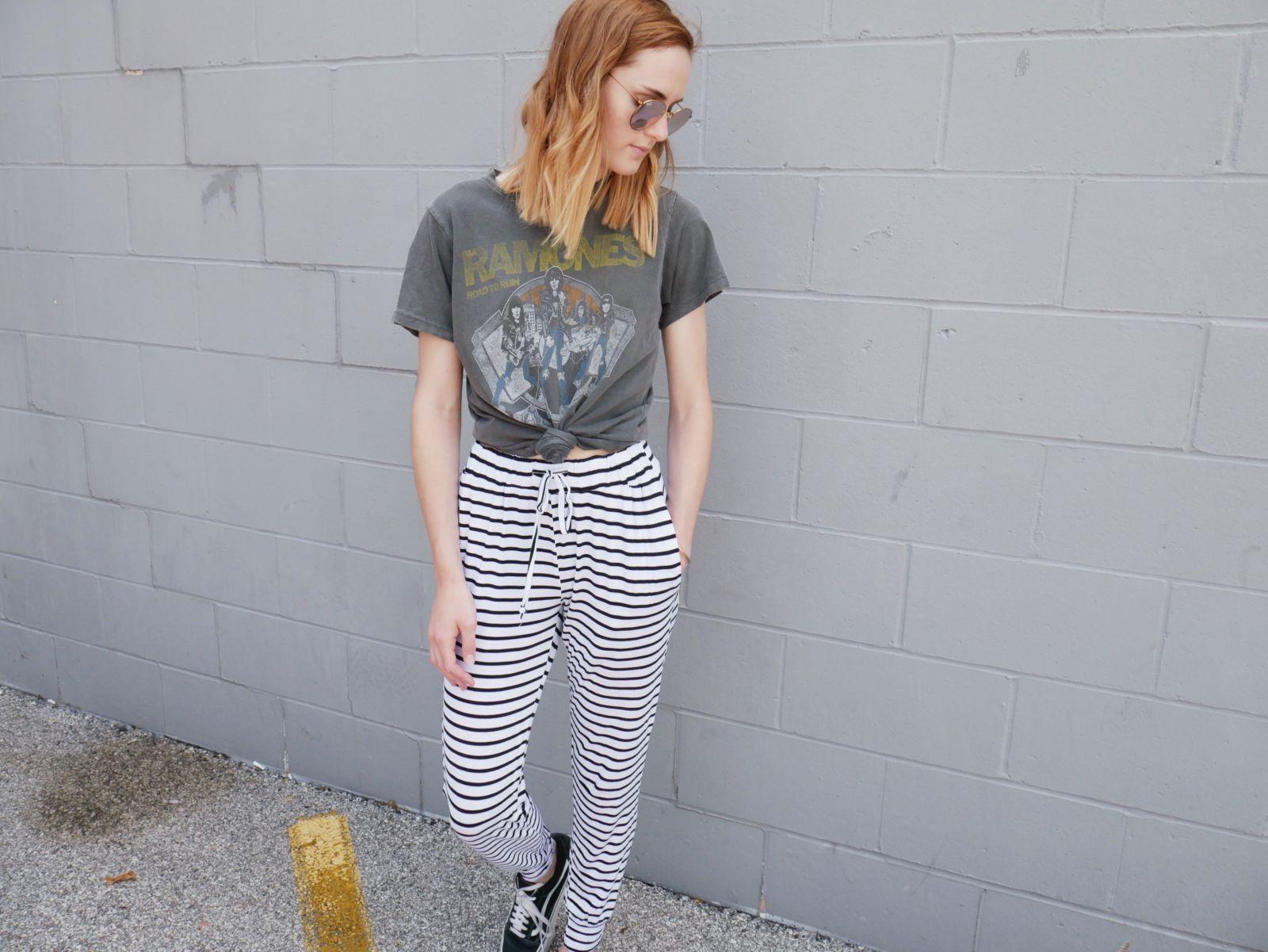 black white striped pants