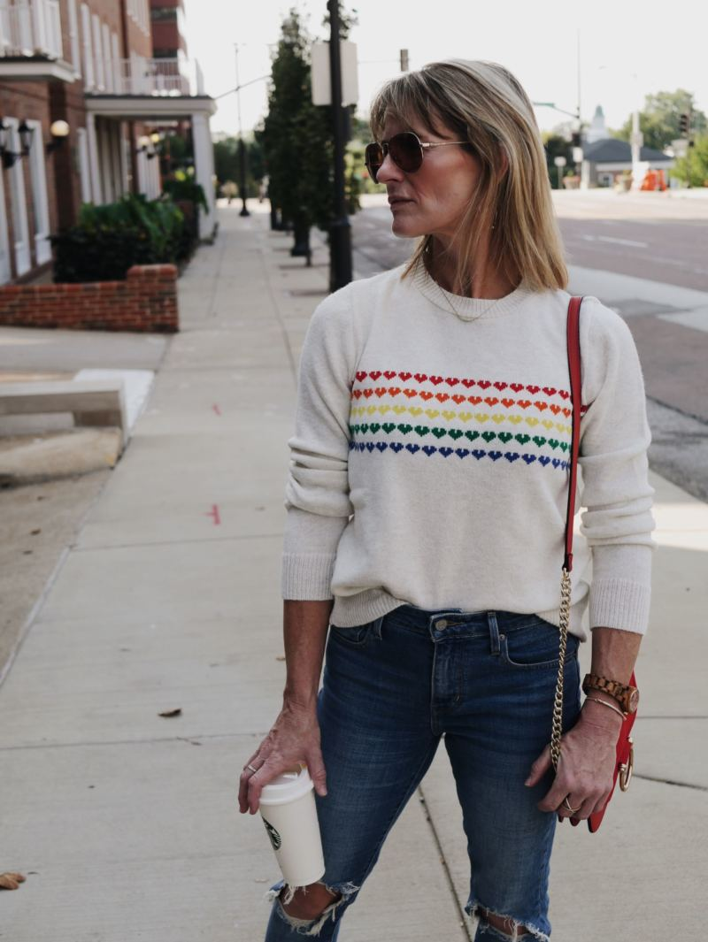 that-70's-look: rainbow sweaters from Urban Outfitters